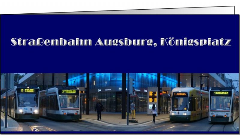 Klappkarte mit Umschlag - Straßenbahn Augsburg, Königsplatz