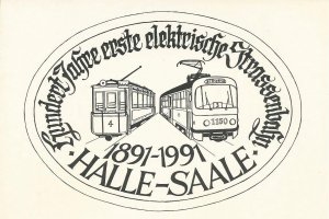 Postkarten-Serie HAVAG Halle-Saale - 100 Jahre elektr. Straßenbahn