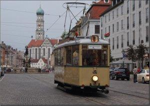 Postkarte Augsburg - Historischer KSW-Triebwagen 506