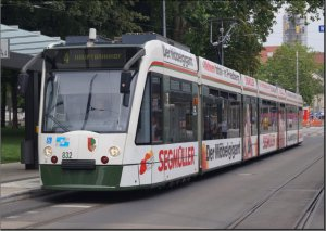 Postkarte Augsburg - COMBINO Niederflur-Gelenktriebwagen 832