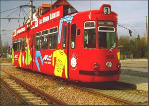 Postkarte Straßenbahn Halberstadt - GT4 TW-165