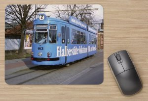 Mousepad mit Straßenbahnmotiv - GT4 Halberstadt