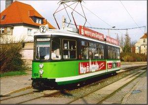 Postkarte Straßenbahn Halberstadt - GT4 TW-159