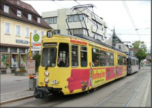 Postkarte Stuttgart - GT4 Gelenktriebwagen 432