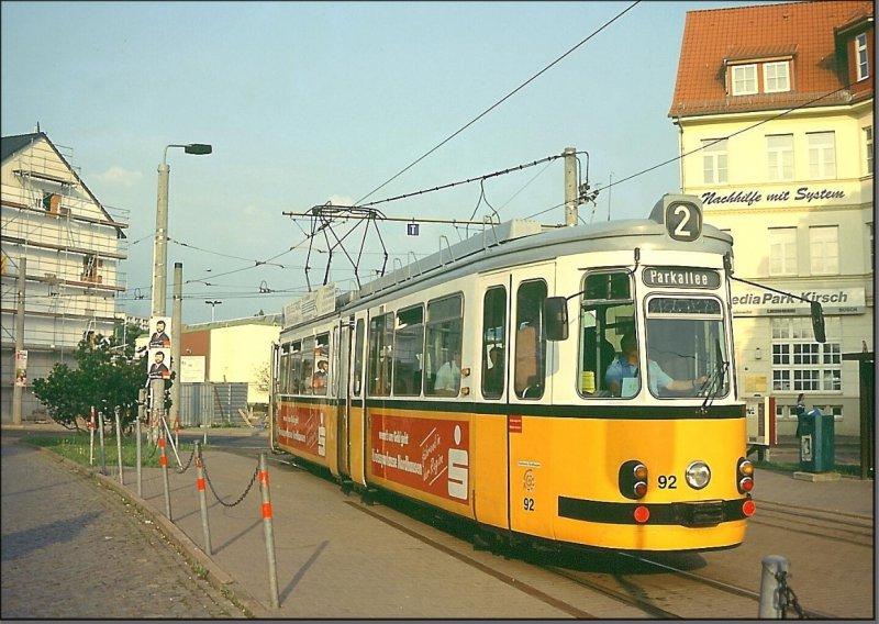 Postkarte Nordhausen - GT4 Gelenktriebwagen TW-92