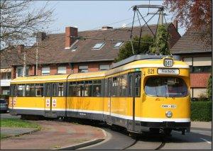 Postkarte Krefeld - GT8 Gelenktriebwagen 821