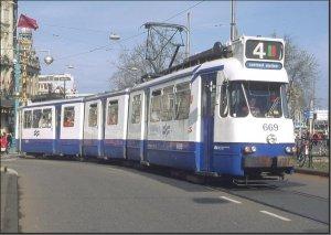 Postkarte Amsterdam (Niederlande) - 5G Gelenktriebwagen 669