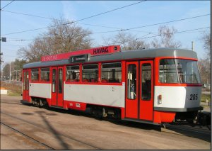 Postkarte Halle (Saale) - B4D-C Großraumbeiwagen 205