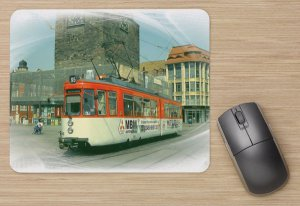 Mousepad mit Straßenbahnmotiv - GT4 Halle Saale TW-890